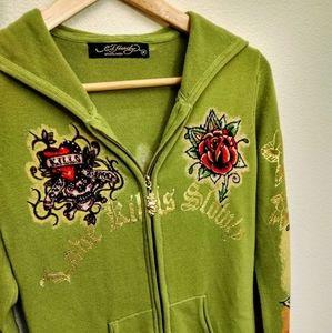 Green Ed Hardy hoodie Sweater Jacket